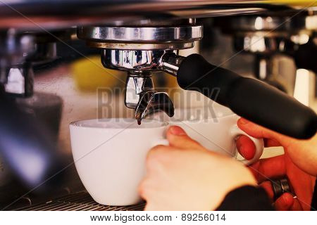 Making Coffee In The Coffee Machine. Morning Atmospheric Lighting, Fashionable Trendy Spot Soft Focu