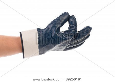 Rubber protective blue glove.