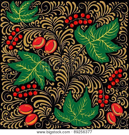 Floral Berries Pattern Khokhloma