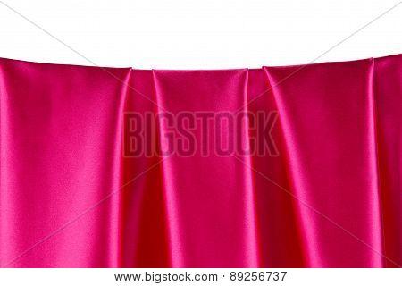Pink silk drapery.