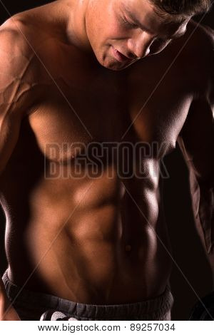 muscular man bodybuilder, abdominal muscle