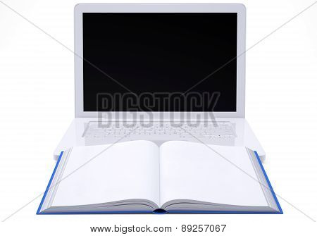 Laptop with open book