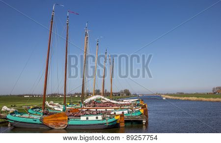 Traditional Frisian Wooden Ships In Sloten