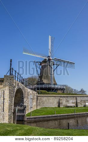 Old Windmill In The Historical City Of Sloten