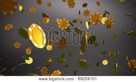 Golden Casino Chips Grey Background
