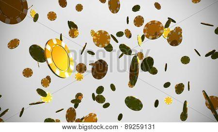 Golden Casino Chips White Background