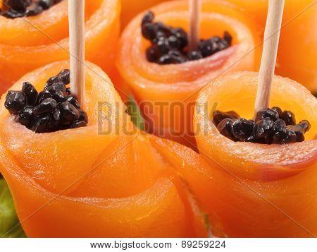 Salmon Rolls With Caviar