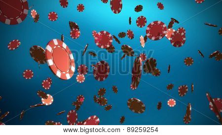 Red Casino Chips Blue Background