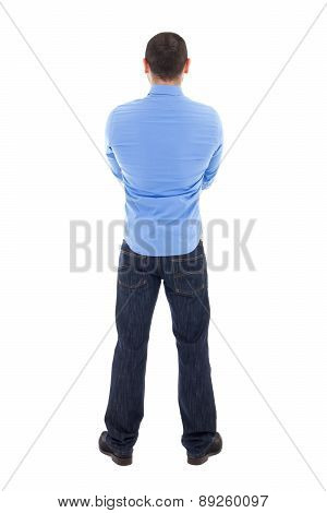 Back View Of Arabic Business Man In Blue Shirt Isolated On White