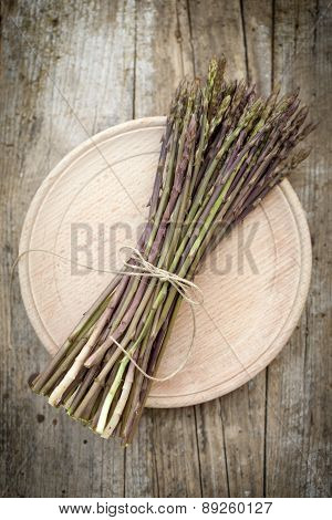 Wild Asparagus Spears In Bunch