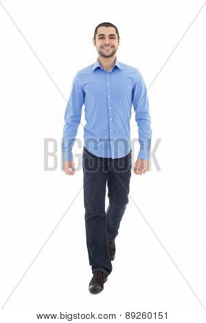 Young Arabic Bearded Business Man In Blue Shirt Walking Isolated On White