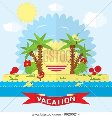 Vector beach illustration in flat style. Vacation on the beach near the sea.