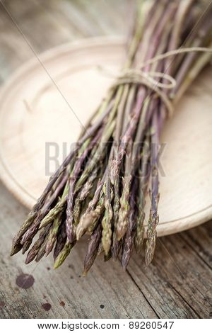 Wild Asparagus Spears In Bunch
