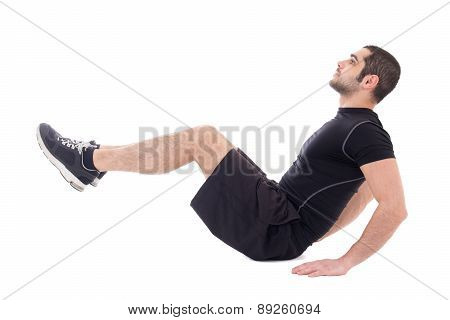 Handsome Bearded Arabic Man In Sportswear Doing Exercises For Abdominal Muscles Isolated On White