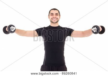 Happy Man In Black Sportswear Doing Exercises With Dumbbells Isolated On White