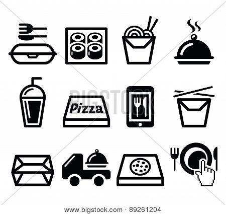 Take away box, meal vector icons set