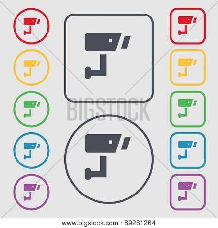 Surveillance Camera Icon Sign. Symbol On The Round And Square Buttons With Frame. Vector