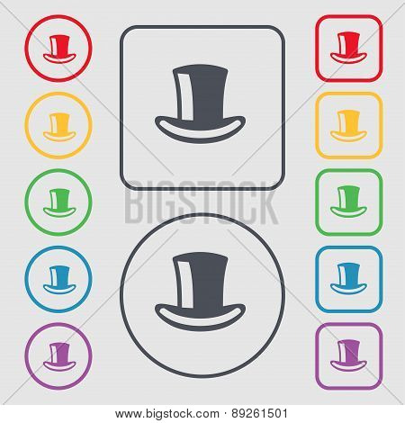 Cylinder Hat Icon Sign. Symbol On The Round And Square Buttons With Frame. Vector