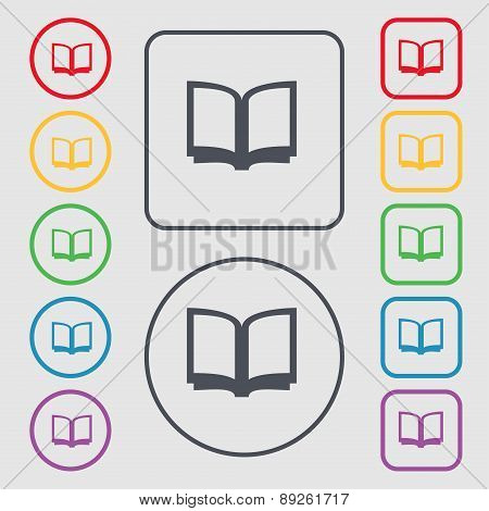 Open Book Icon Sign. Symbol On The Round And Square Buttons With Frame. Vector