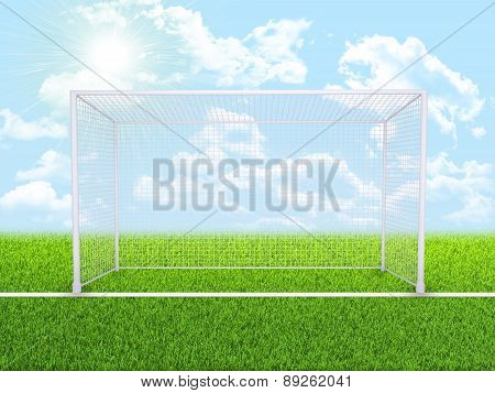 Green nature field with gates