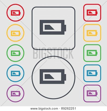 Battery Half Level Icon Sign. Symbol On The Round And Square Buttons With Frame. Vector