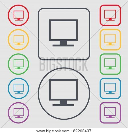 Computer Widescreen Monitor Icon Sign. Symbol On The Round And Square Buttons With Frame. Vector