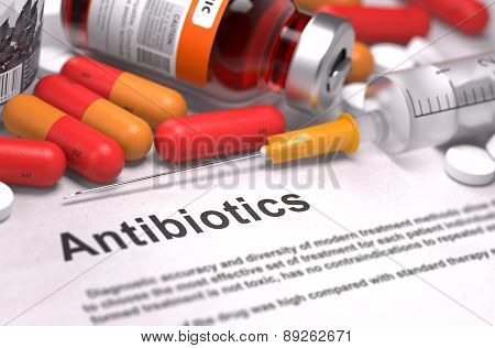 Antibiotics - Medical Concept. Composition of Medicamen.