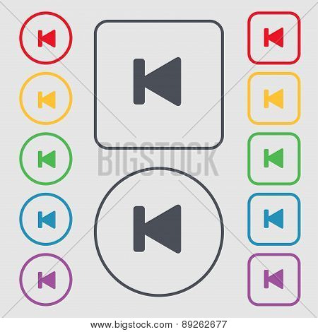 Fast Backward Icon Sign. Symbol On The Round And Square Buttons With Frame. Vector