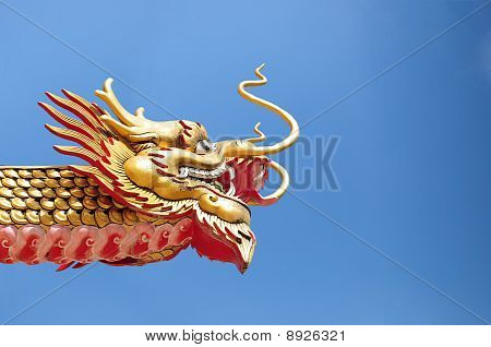 Ancient Chinese Golden Dragon Pattern
