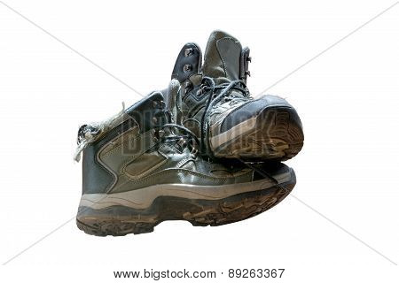 Old Worn Hiking Boots Isolated On White Background