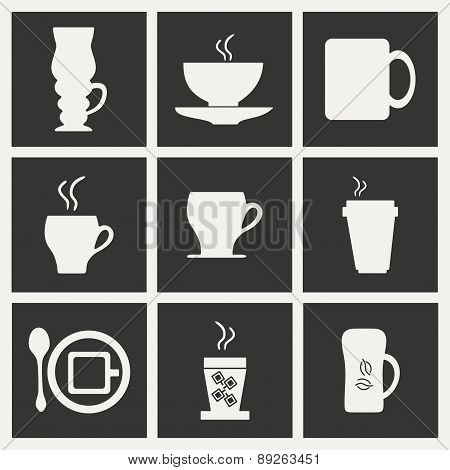 Flat in black and white concept mobile application cofee