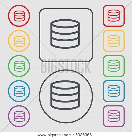 Hard Disk And Database Icon Sign. Symbol On The Round And Square Buttons With Frame. Vector