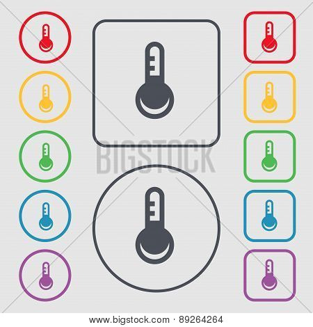 Thermometer, Temperature Icon Sign. Symbol On The Round And Square Buttons With Frame. Vector