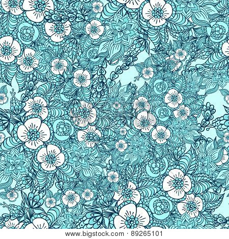 Seamless pattern with doodle spring flowers in blue