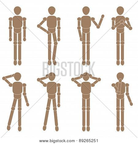 marionette man set. Vector illustration