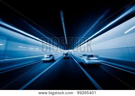 speeding car through the tunnel.