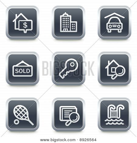Real Estate Web Icons, Grey Square Buttons