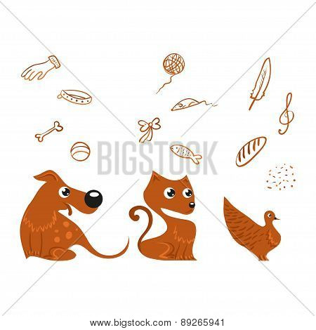 dog, cat and bird set