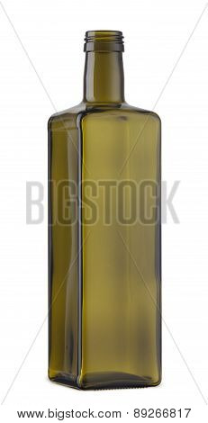 Empty Cooking Oil Glass Bottle Isolated On The White