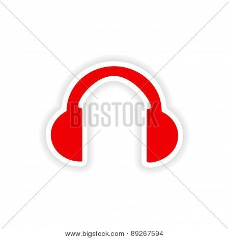 icon sticker realistic design on paper headphones