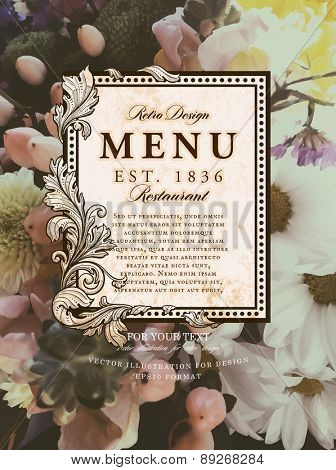 Vintage Floral Card with Flowers. Retro Frame for Restaurant or Boutique Identity Design. Spring Illustration. Summer Elements for Placard, Poster, Invitation, Flyer, Book Cover Design.