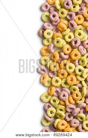 colorful cereal rings on white background