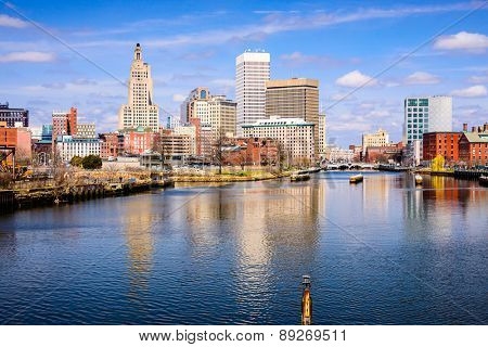 Providence, Rhode Island, USA skyline on the river.