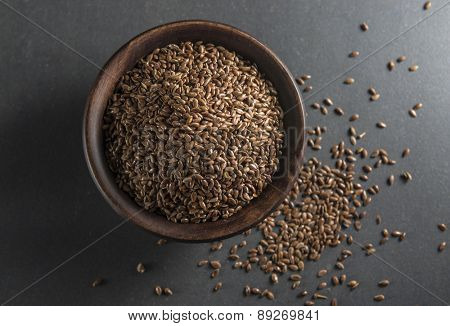 Bowl full of flax seed -  a good source of omega-3 acids.