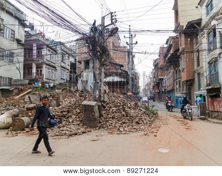 KATHMANDU, NEPAL - APRIL 26, 2015: Destoyed temple after the 7.8 earthquake hit Nepal on 25 April 2015.