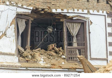 KATHMANDU, NEPAL - APRIL 26, 2015: A destroyed house at Durbar Square, a UNESCO World Heritage Site, which was severly damaged after the major earthquake on 25 April 2015.