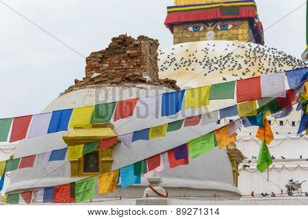 KATHMANDU, NEPAL - APRIL 26, 2015: Minor damage at Boudhanath stupa after the 7.8 earthquake hit Nepal on 25 April 2015.