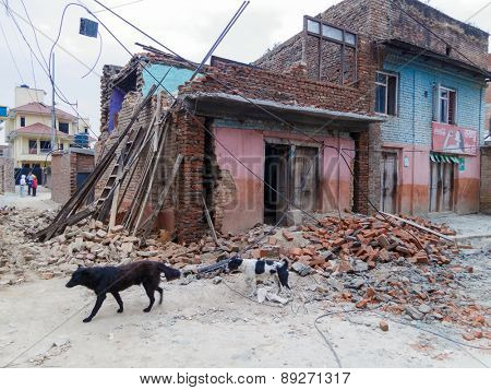 KATHMANDU, NEPAL - APRIL 25, 2015: Detroyed house after the 7.8 earthquake which hit Nepal.