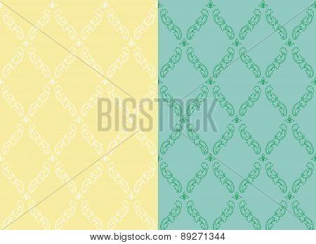 Set pattern vintage seamless. Old Royal desktop. Vector background.