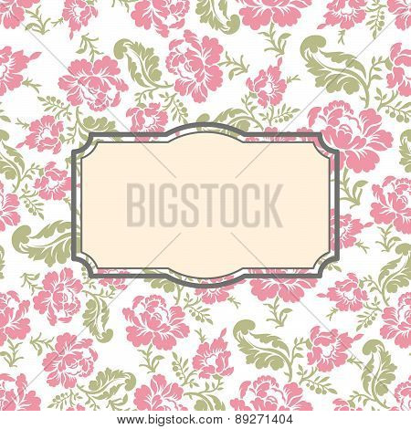 Roses floral card. Frame template to text. Vector illustration background